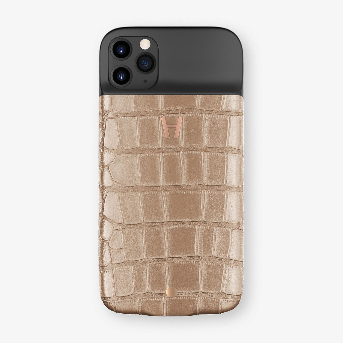 Alligator Battery Case iPhone 11 Pro | Latte - Rose Gold