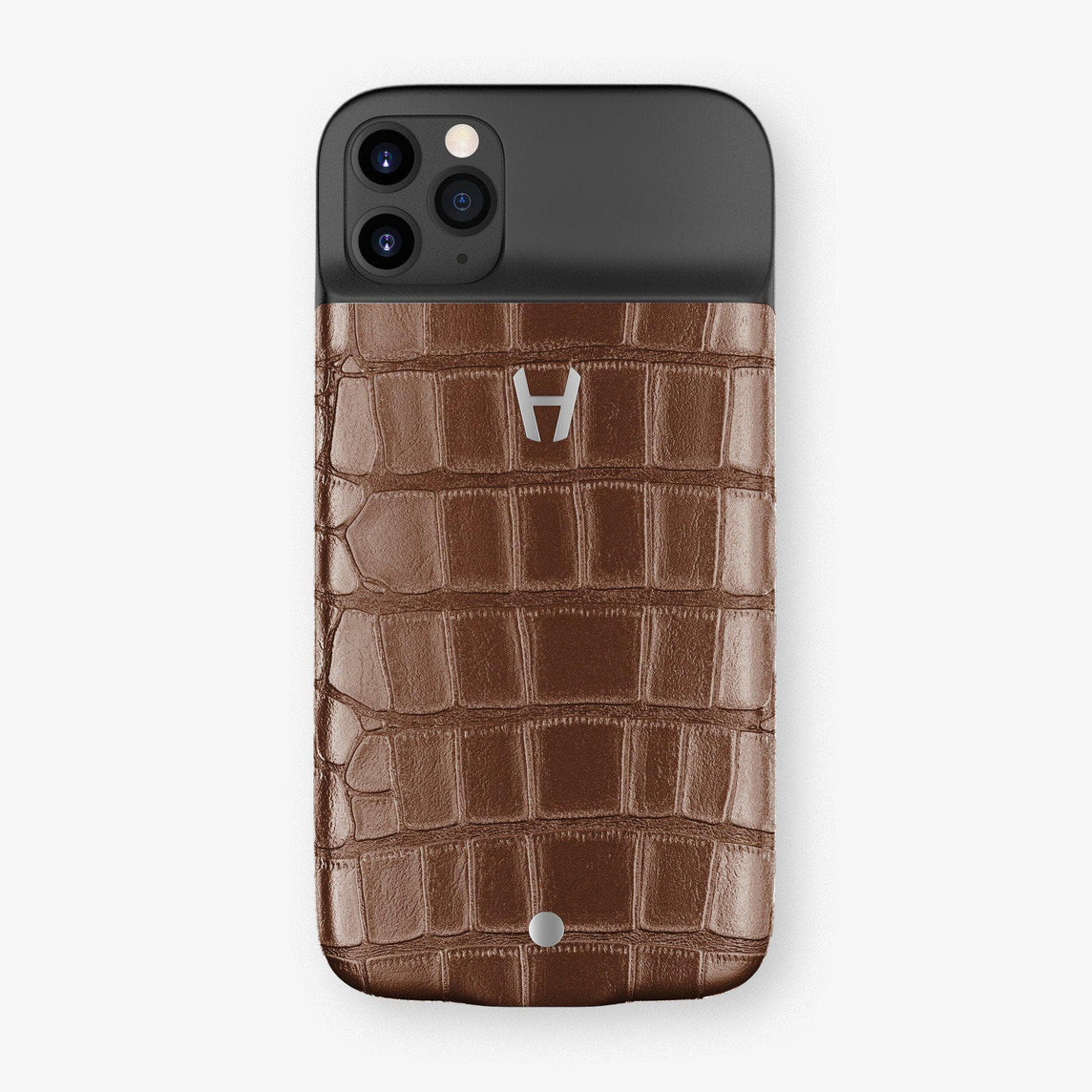 Alligator Battery Case iPhone 11 Pro | Brown Chocolate - Stainless Steel
