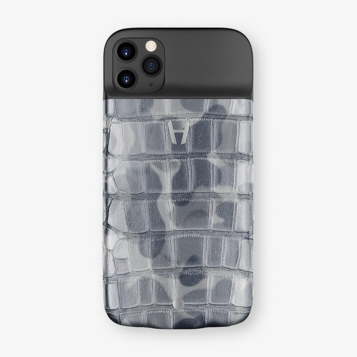 Alligator Battery Case iPhone 11 Pro | Grey Camouflage - Stainless Steel