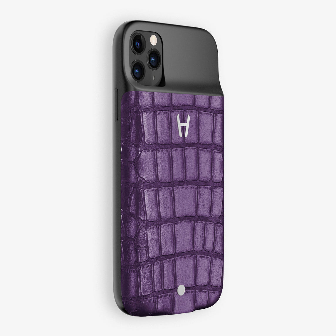 Alligator Battery Case iPhone 11 Pro | Violet Purple - Stainless Steel