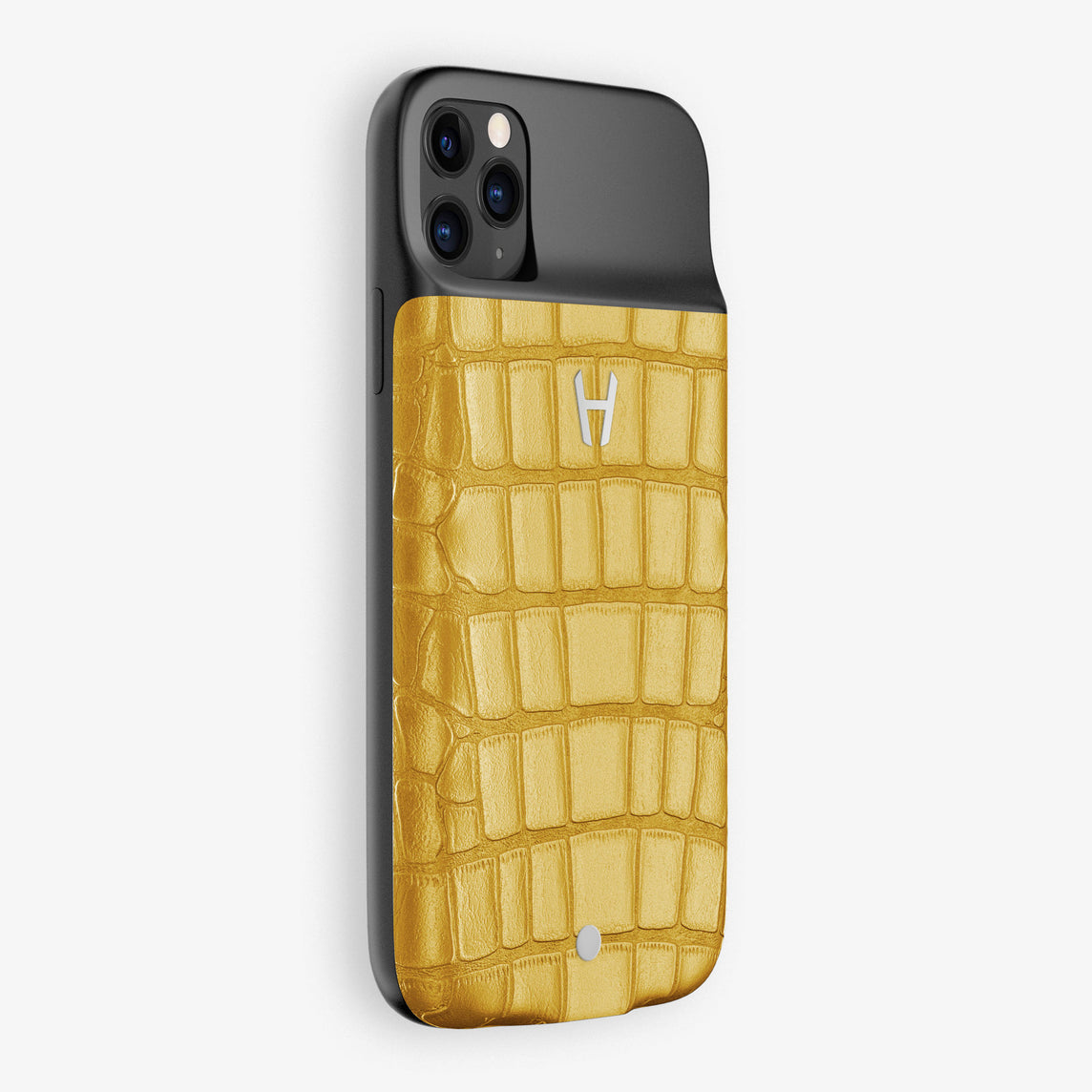 Alligator Battery Case iPhone 11 Pro | (VE-Y01) - Yellow Aventador - Jaune Aventador - YE - Stainless Steel