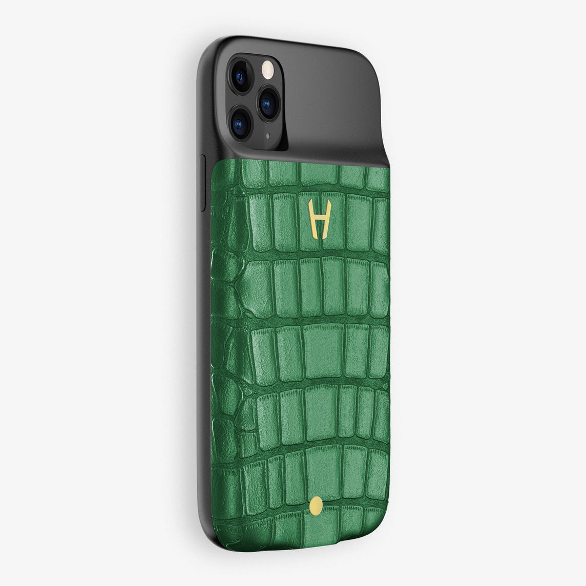 Alligator Battery Case iPhone 11 Pro | Green Emerald - Yellow Gold