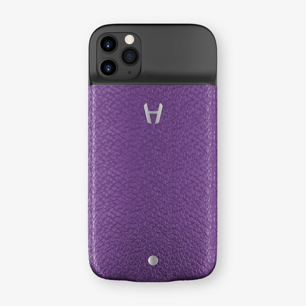 Calfskin Battery Case iPhone 11 Pro | Purple - Stainless Steel