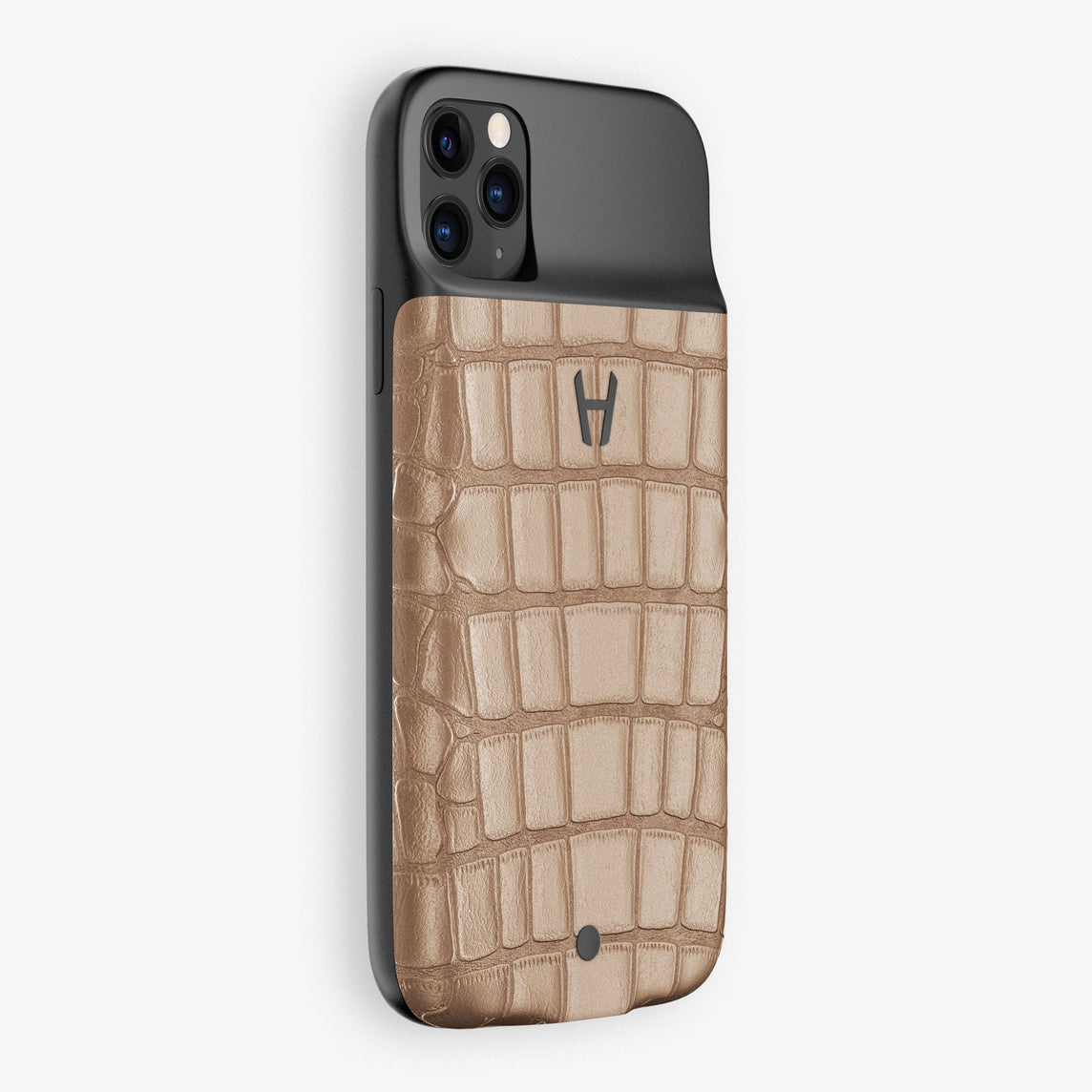 Alligator Battery Case iPhone 11 Pro Max | Latte - Black