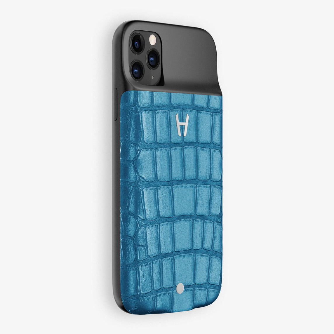 Alligator Battery Case iPhone 11 Pro Max | Blue Lagoon - Stainless Steel