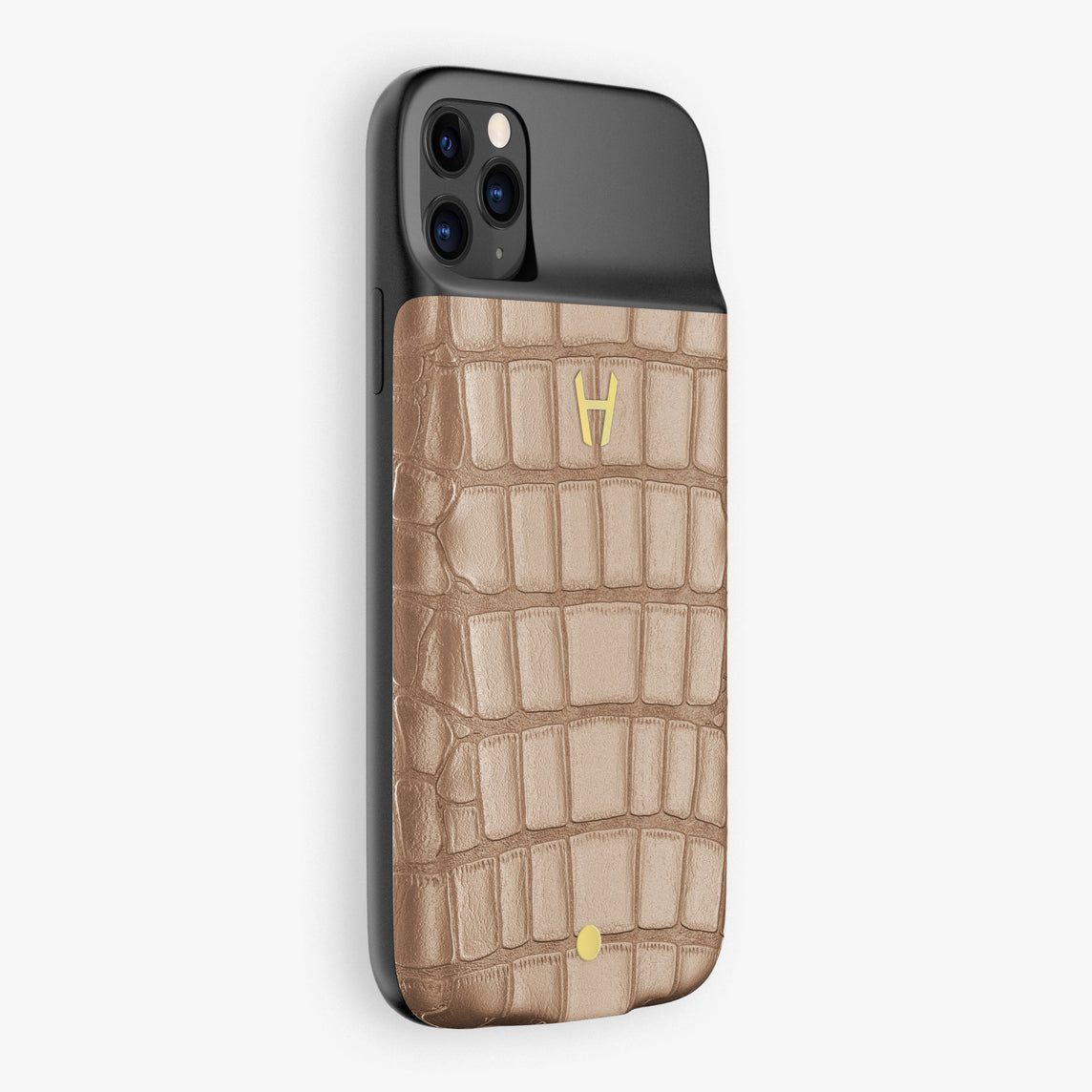 Alligator Battery Case iPhone 11 Pro Max | Latte - Yellow Gold