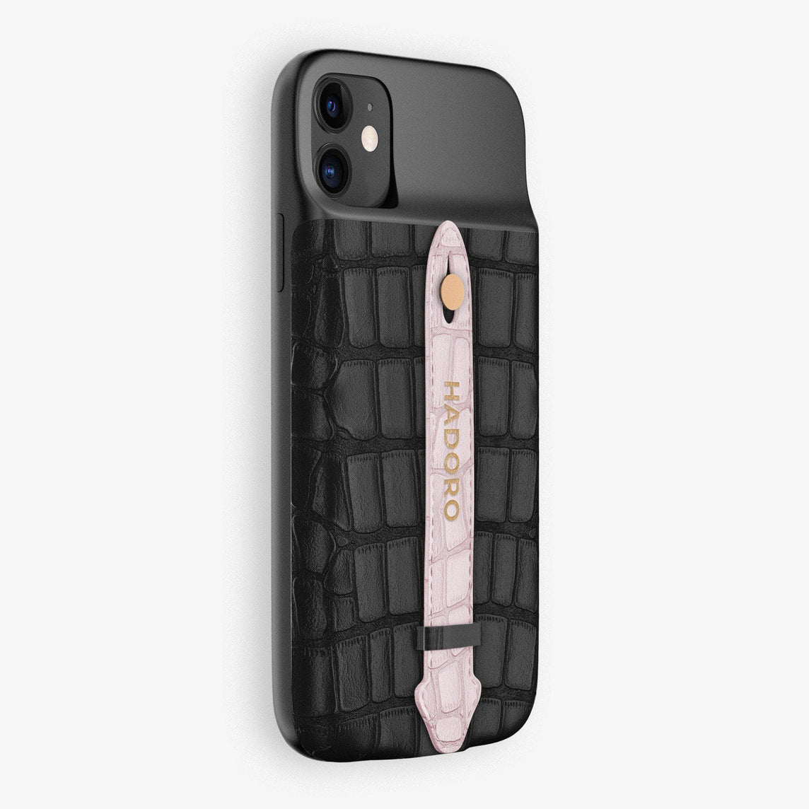 Alligator Battery Finger Case for iPhone 11 | Black/Pink - Rose Gold