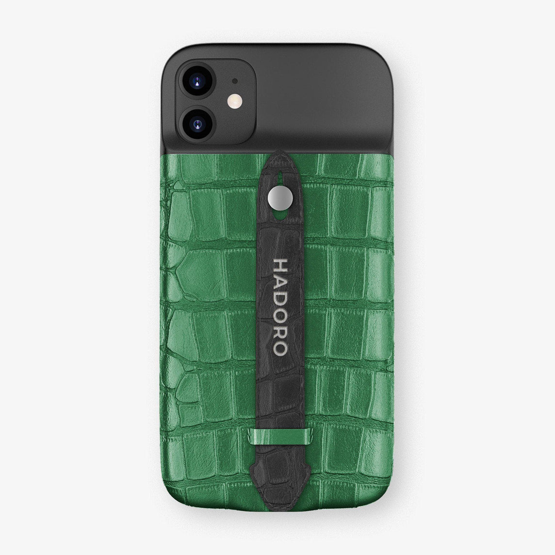 Alligator Battery Finger Case for iPhone 11 | Green Emerald/Black - Stainless Steel