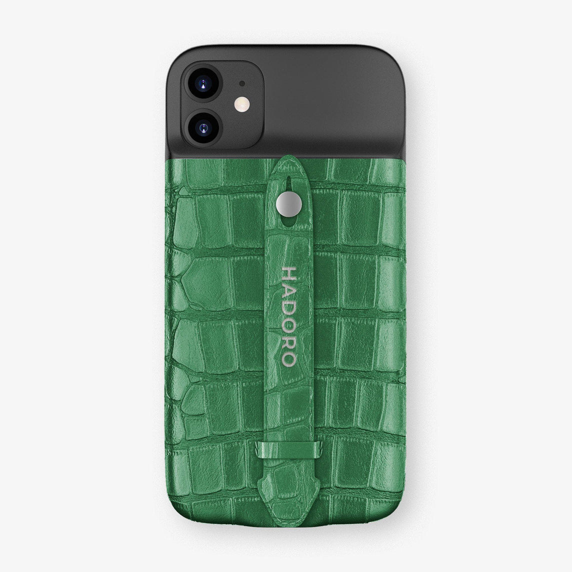 Alligator Battery Finger Case for iPhone 11 | Green Emerald/Green Emerald - Stainless Steel