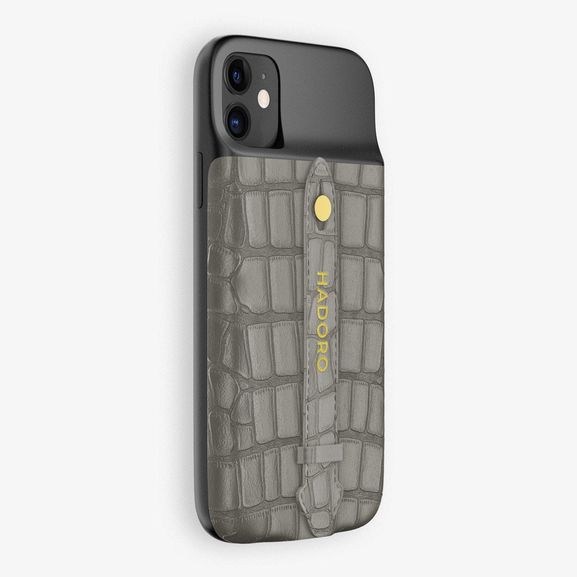 Alligator Battery Finger Case for iPhone 11 | Grey/Grey - Yellow Gold