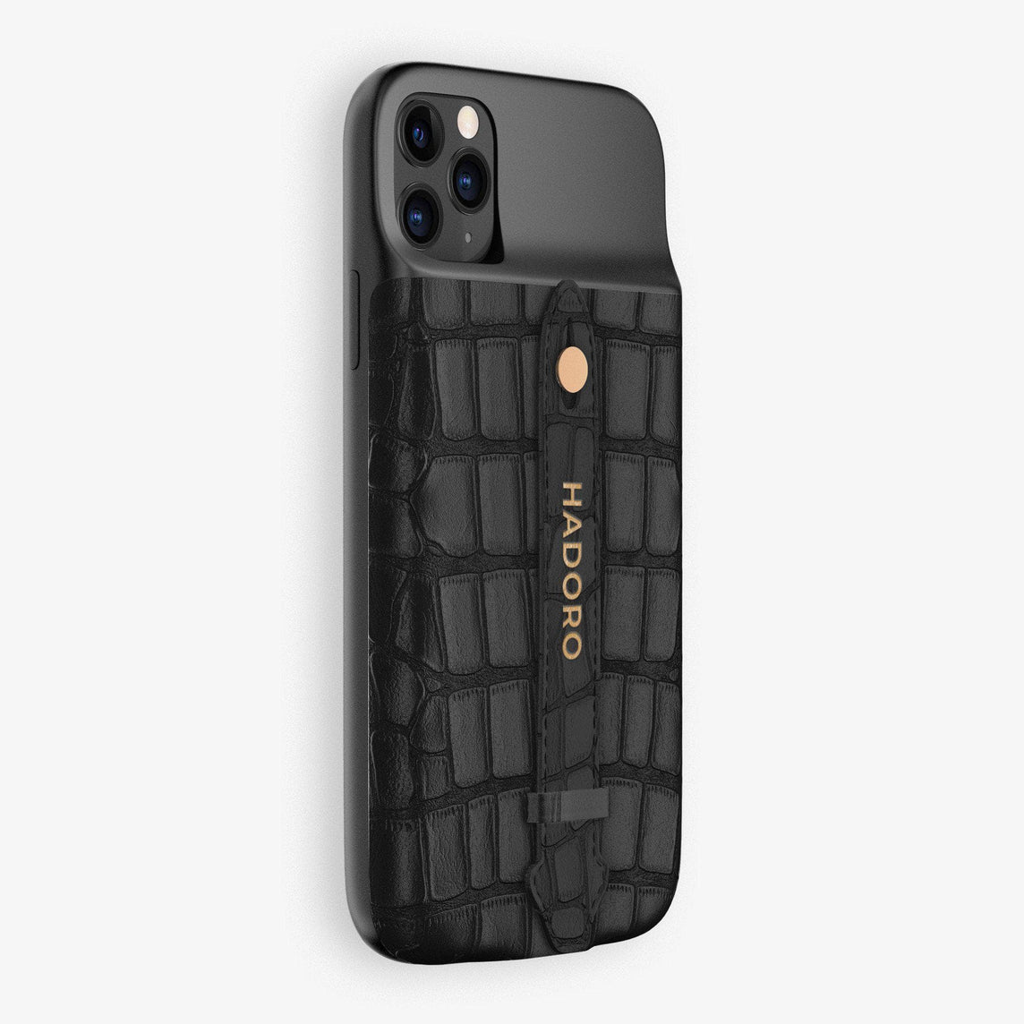 Alligator Battery Finger Case for iPhone 11 Pro | Black/Black - Rose Gold