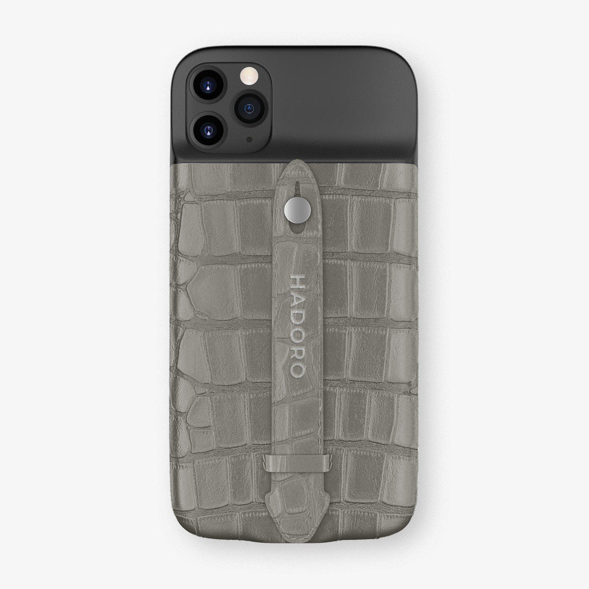 Alligator Battery Finger Case for iPhone 11 Pro | Grey/Grey - Stainless Steel