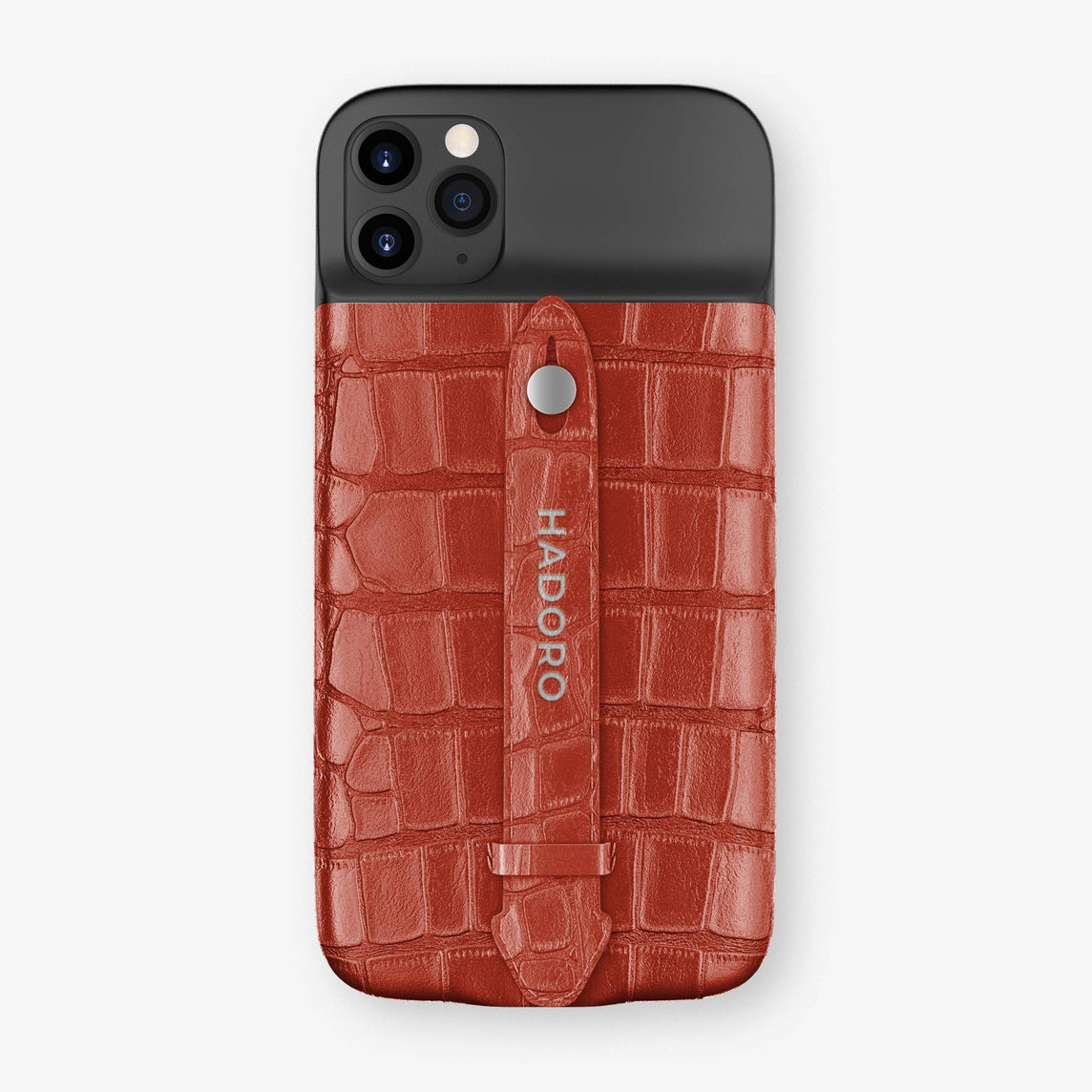 Alligator Battery Finger Case iPhone 11 Pro | Red/Red - Stainless Steel