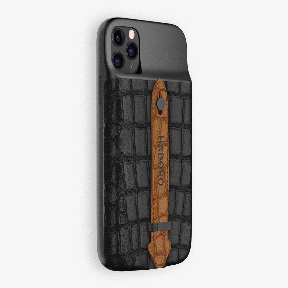 Alligator Battery Finger Case for iPhone 11 Pro Max | Black/Cognac - Black
