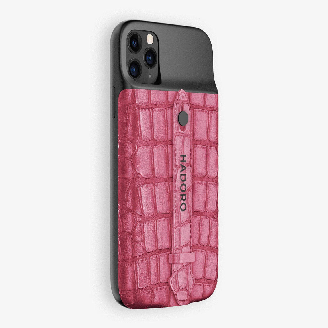 Alligator Battery Finger Case for iPhone 11 Pro Max | Pink Girly/Pink Girly - Black