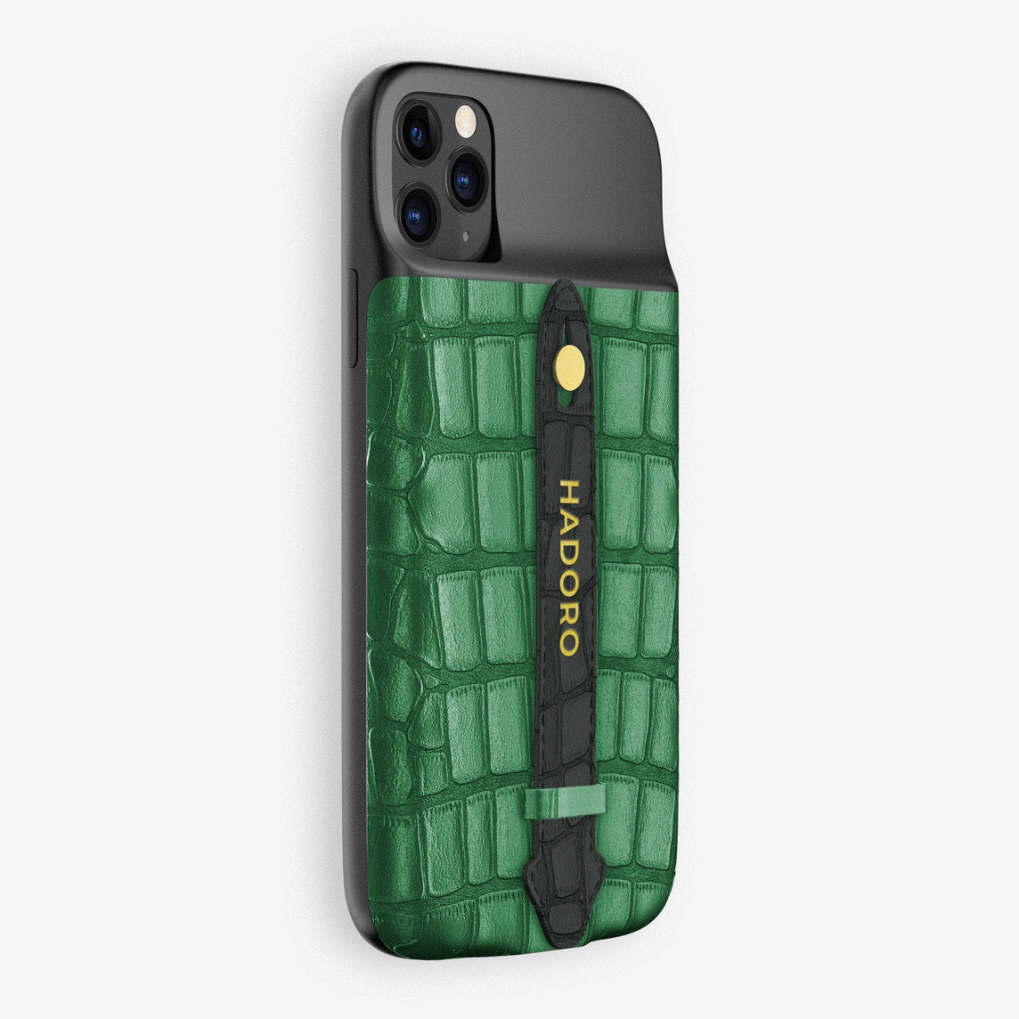 Alligator Battery Finger Case for iPhone 11 Pro Max | Green Emerald/Black - Yellow Gold