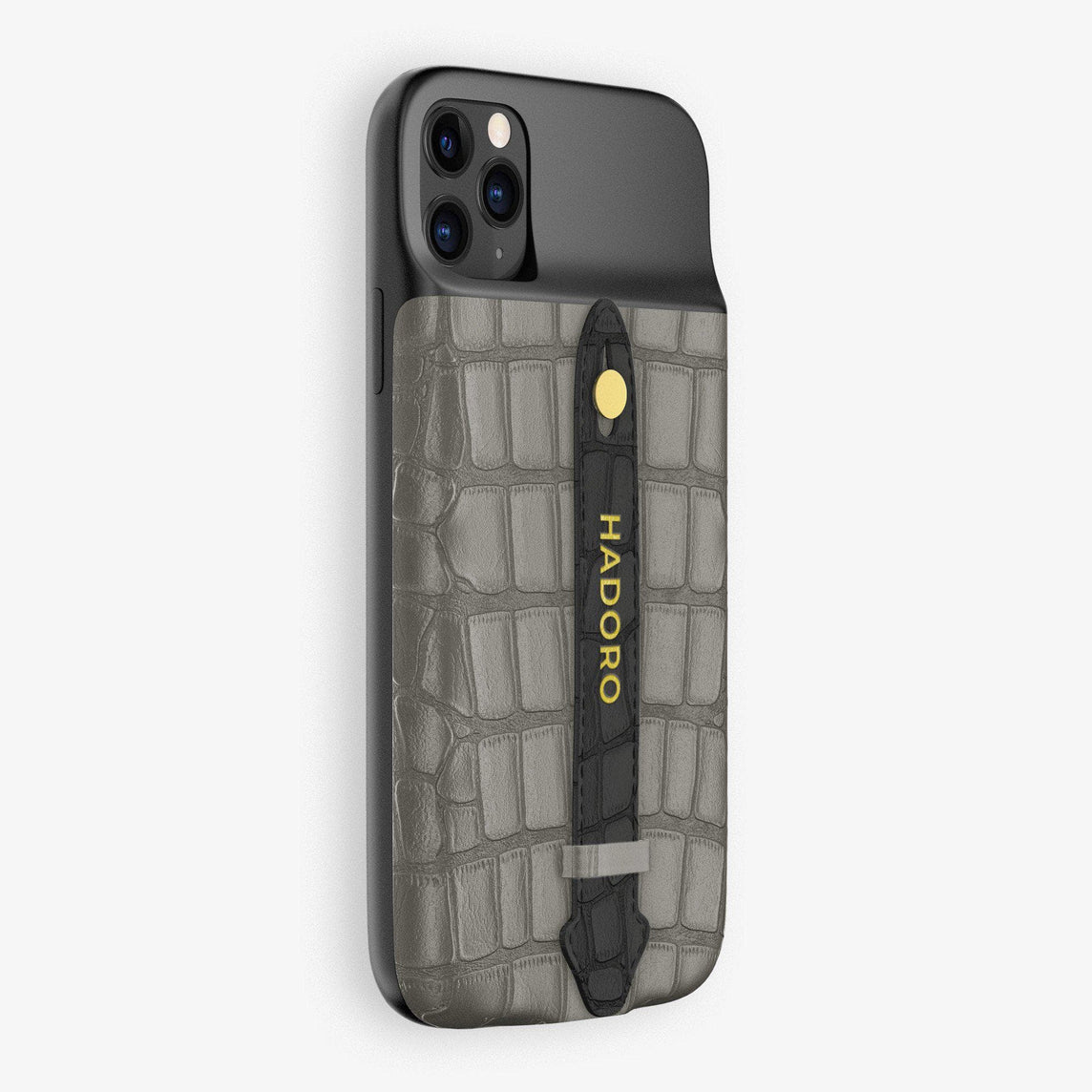 Alligator Battery Finger Case for iPhone 11 Pro Max | Grey/Black - Yellow Gold