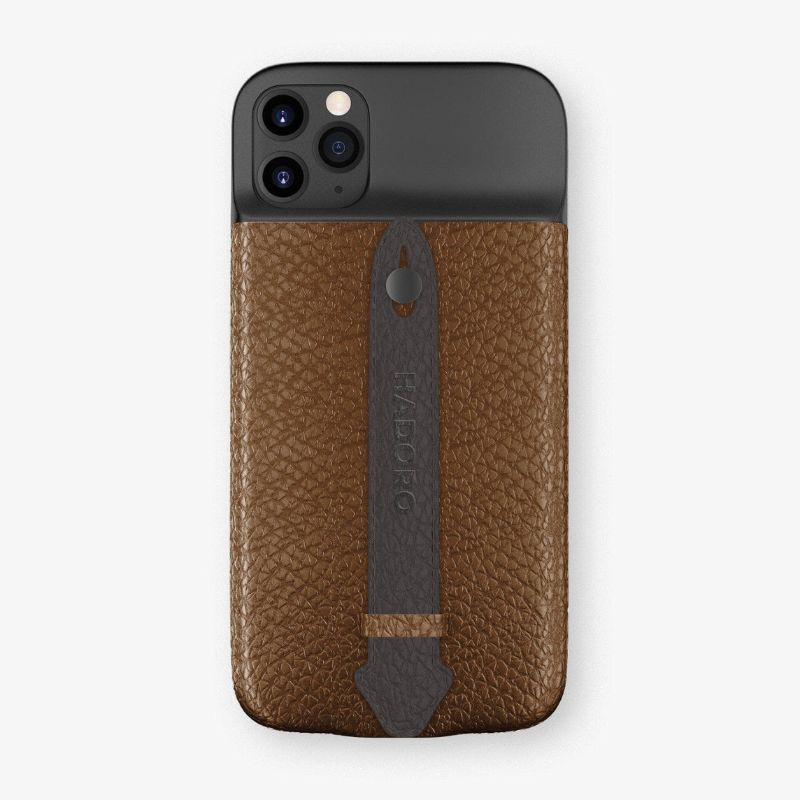 Calfskin Battery Finger Case for iPhone 11 Pro Max | Brown/Anthracite - Black without-personalization