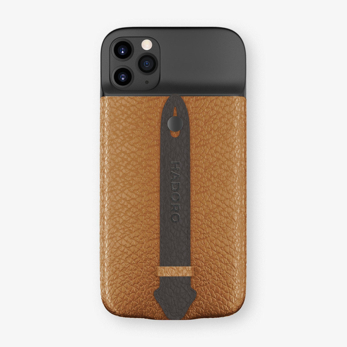 Calfskin Battery Finger Case for iPhone 11 Pro Max | Cognac/Anthracite - Black without-personalization
