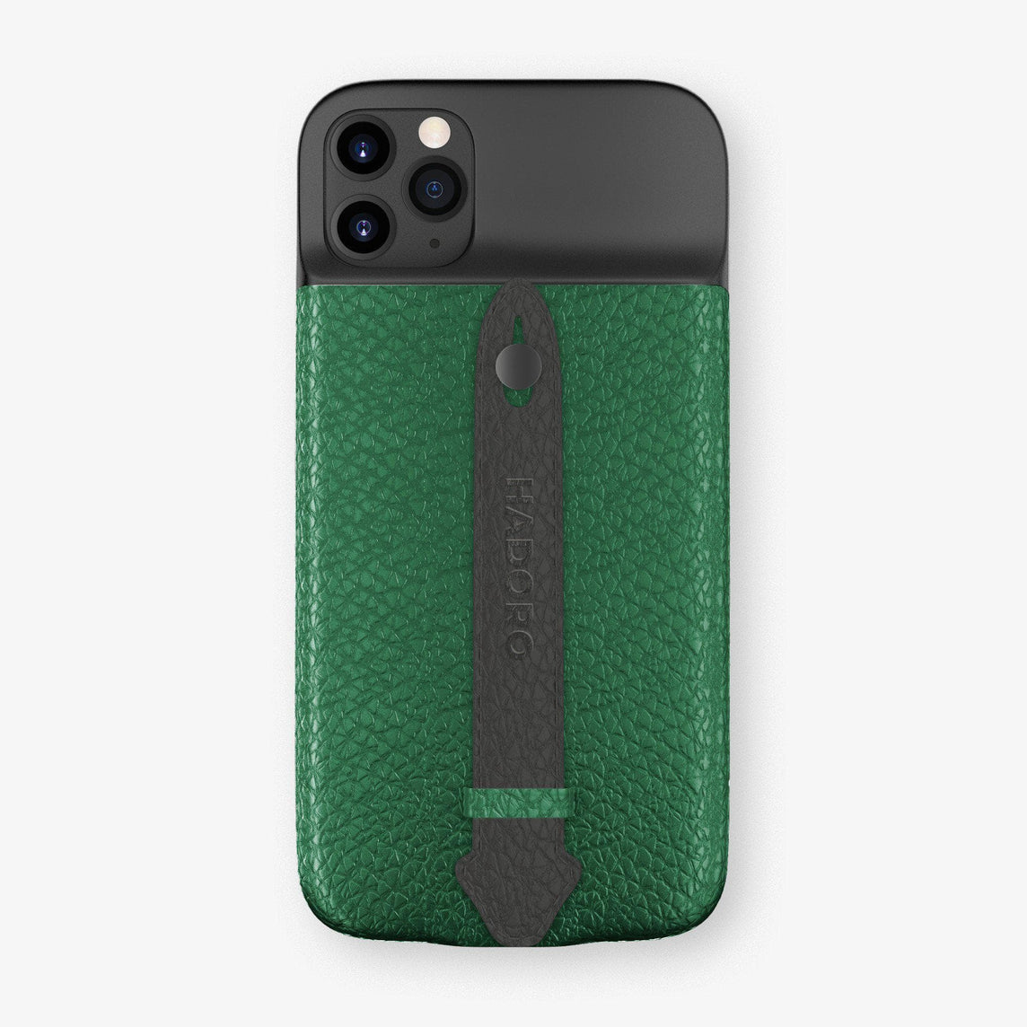 Calfskin Battery Finger Case for iPhone 11 Pro Max | Green/Anthracite - Black without-personalization