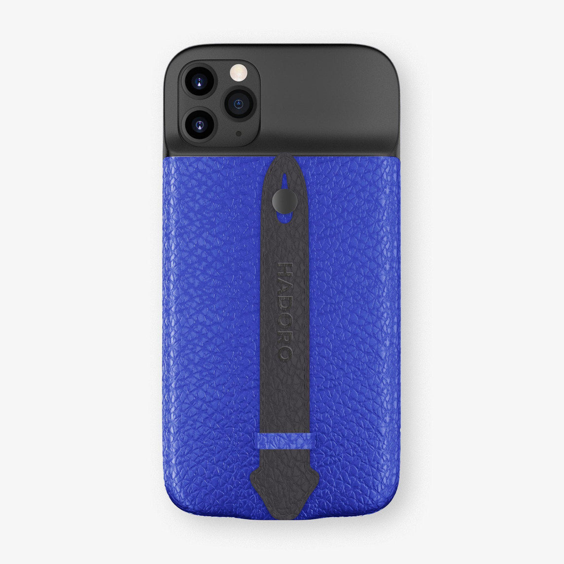 Calfskin Battery Finger Case for iPhone 11 Pro Max | Peony Blue/Anthracite - Black without-personalization