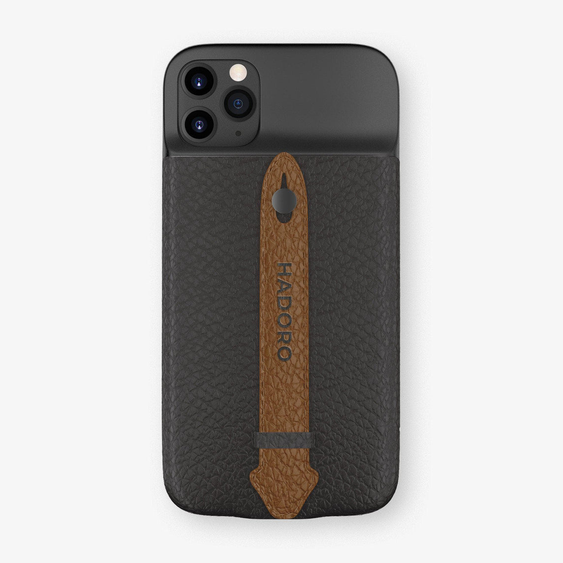 Calfskin Battery Finger Case for iPhone 11 Pro Max | Anthracite/Brown - Black without-personalization