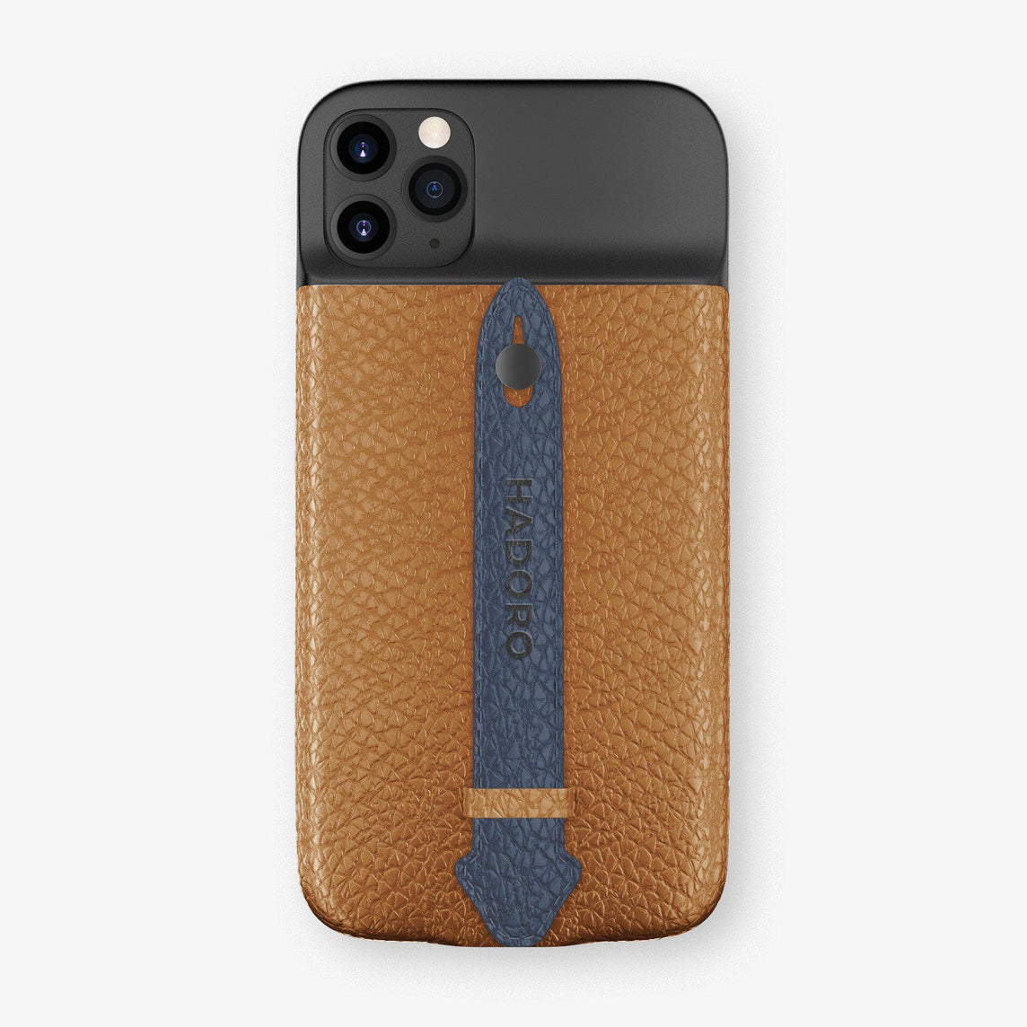 Calfskin Battery Finger Case for iPhone 11 Pro Max | Cognac/Navy Blue - Black without-personalization