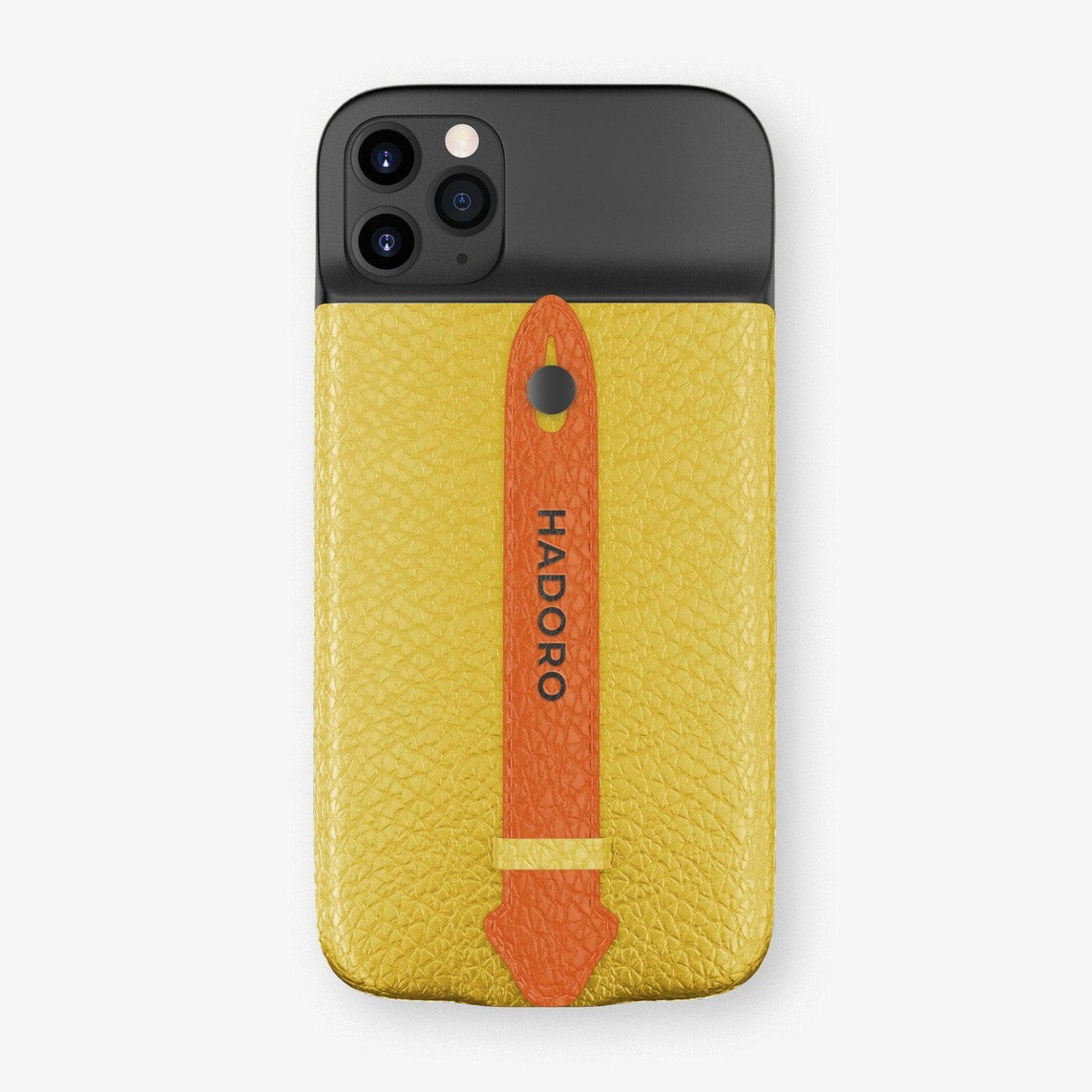 Calfskin Battery Finger Case for iPhone 11 Pro Max | Yellow/Orange - Black without-personalization