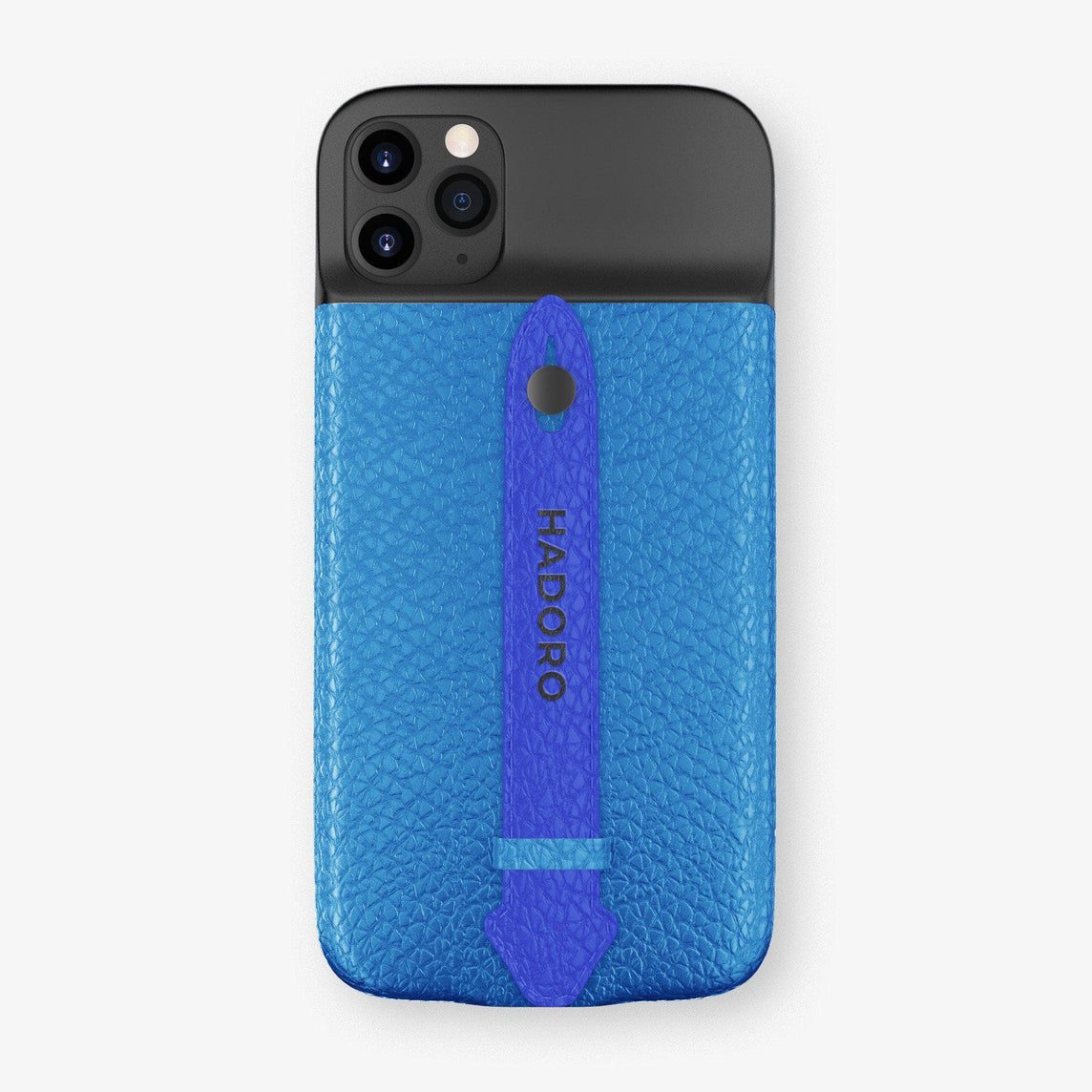 Calfskin Battery Finger Case for iPhone 11 Pro Max | Blue Lagoon/Peony Blue - Black without-personalization