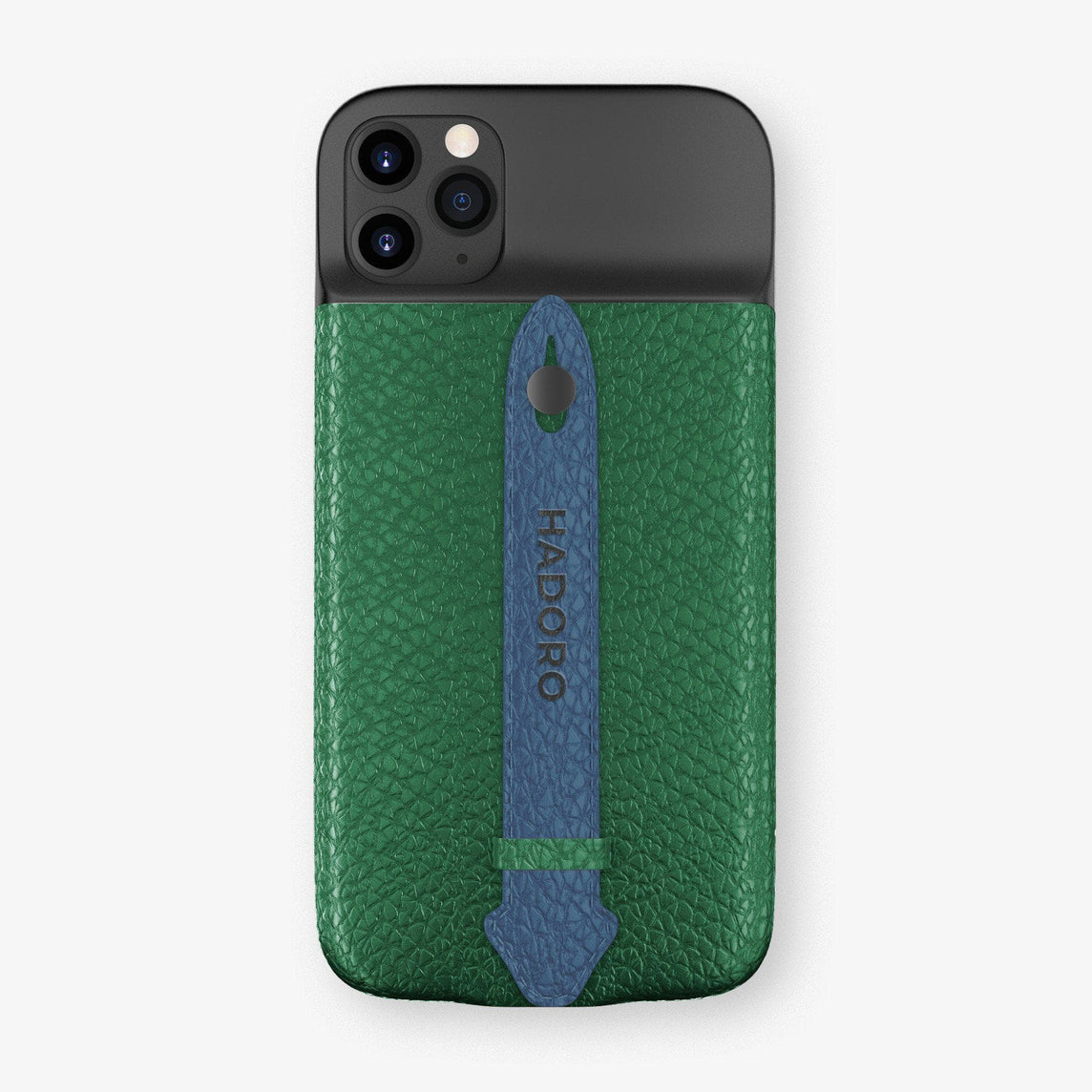 Calfskin Battery Finger Case for iPhone 11 Pro Max | Green/Teal - Black without-personalization