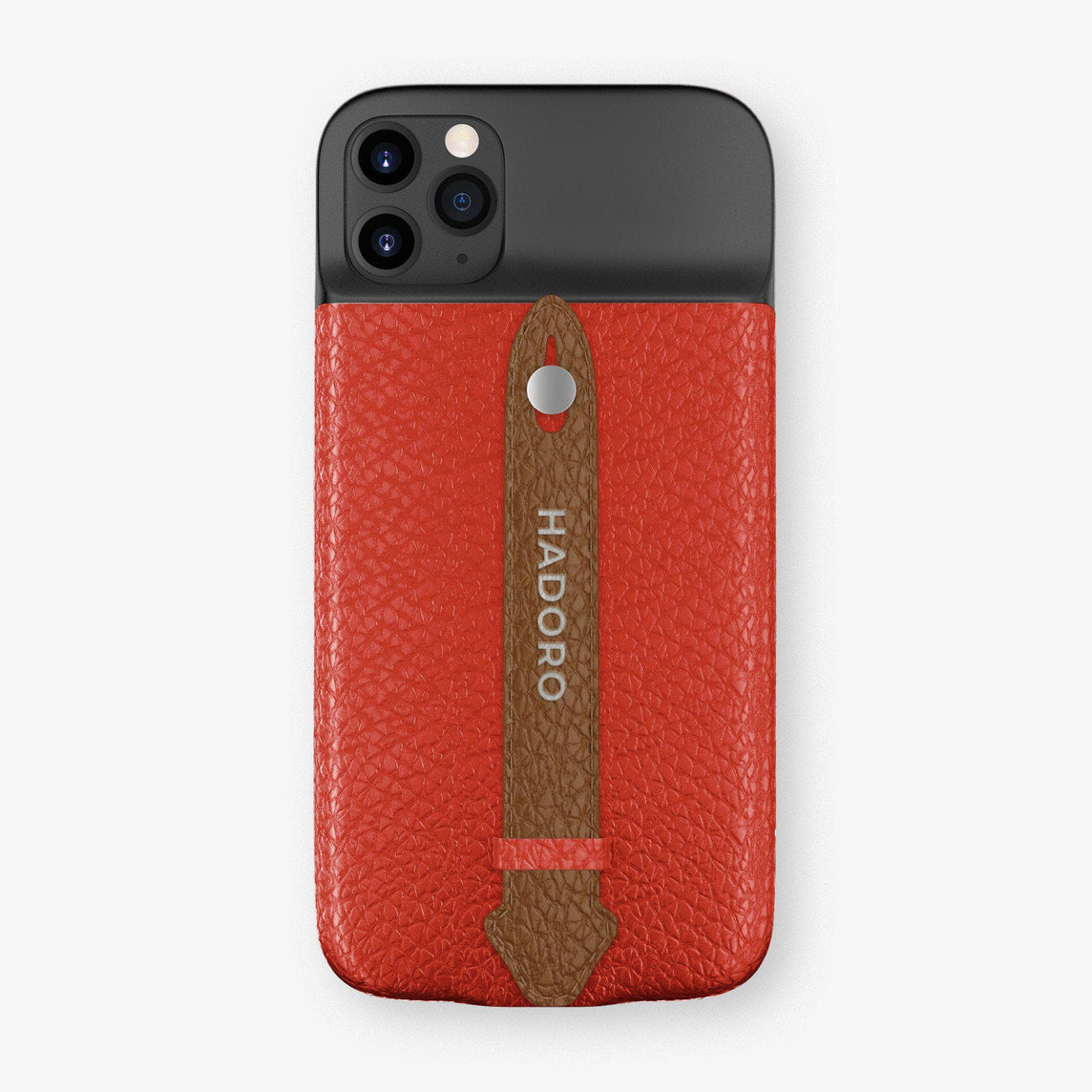 Calfskin Battery Finger Case for iPhone 11 Pro Max | Red/Brown - Stainless Steel without-personalization