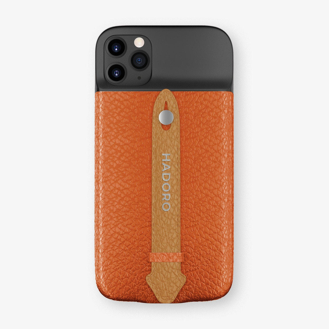 Calfskin Battery Finger Case for iPhone 11 Pro Max | Orange/Cognac - Stainless Steel without-personalization