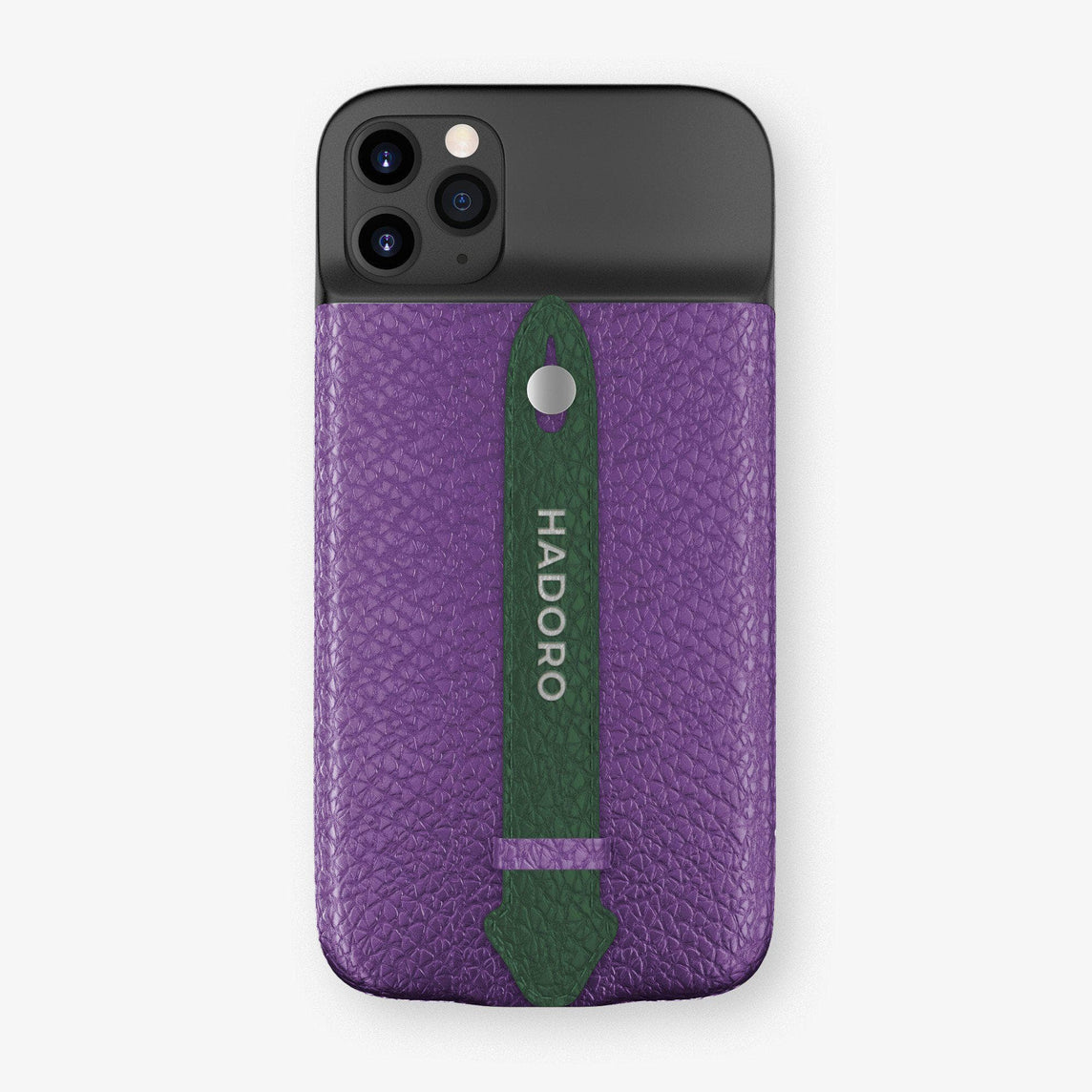 Calfskin Battery Finger Case for iPhone 11 Pro Max | Purple/Green - Stainless Steel without-personalization