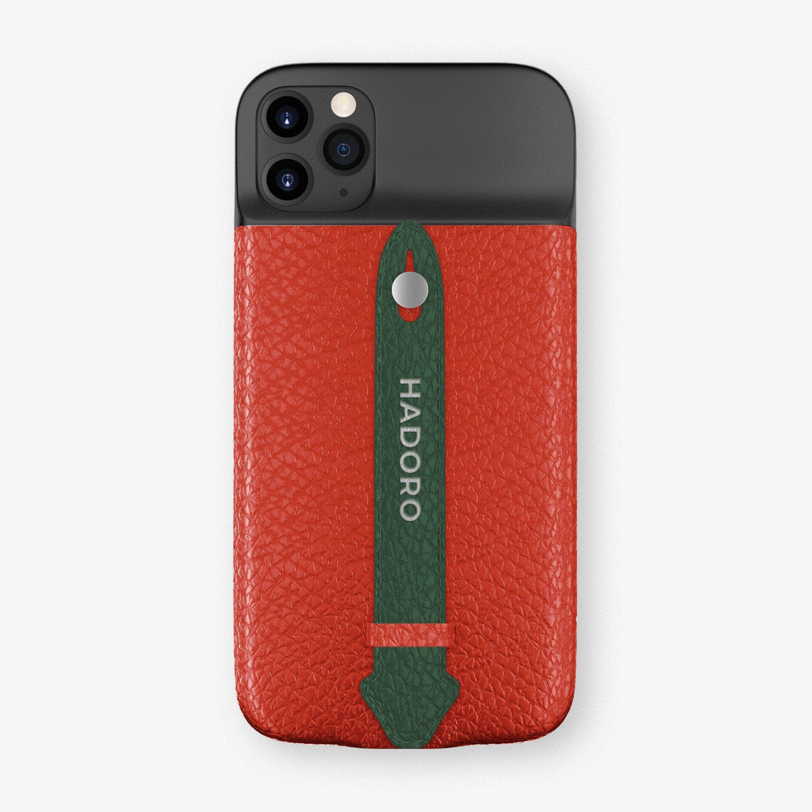 Calfskin Battery Finger Case for iPhone 11 Pro Max | Red/Green - Stainless Steel without-personalization