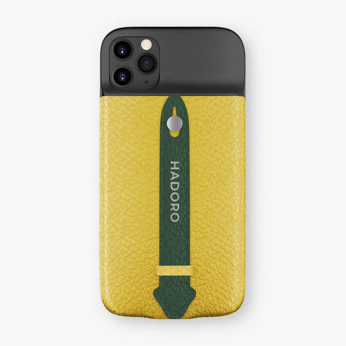 Calfskin Battery Finger Case for iPhone 11 Pro Max | Yellow/Green - Stainless Steel without-personalization