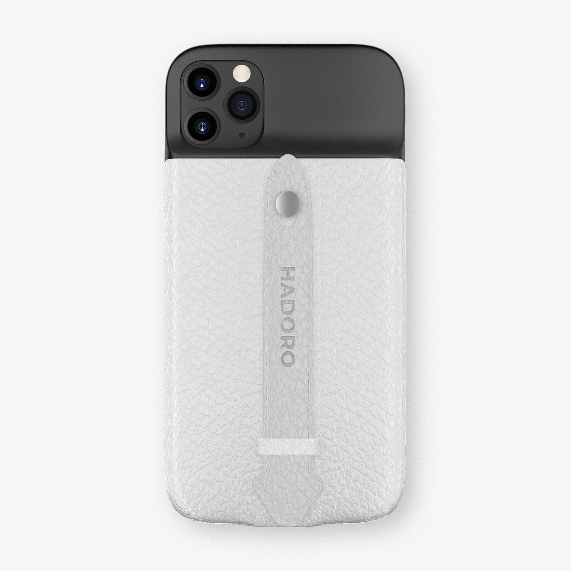 Calfskin Battery Finger Case for iPhone 11 Pro Max | White/Grey - Stainless Steel without-personalization