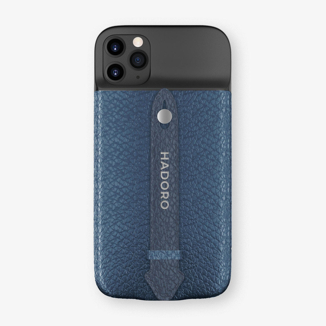 Calfskin Battery Finger Case for iPhone 11 Pro Max | Teal/Navy Blue - Stainless Steel without-personalization