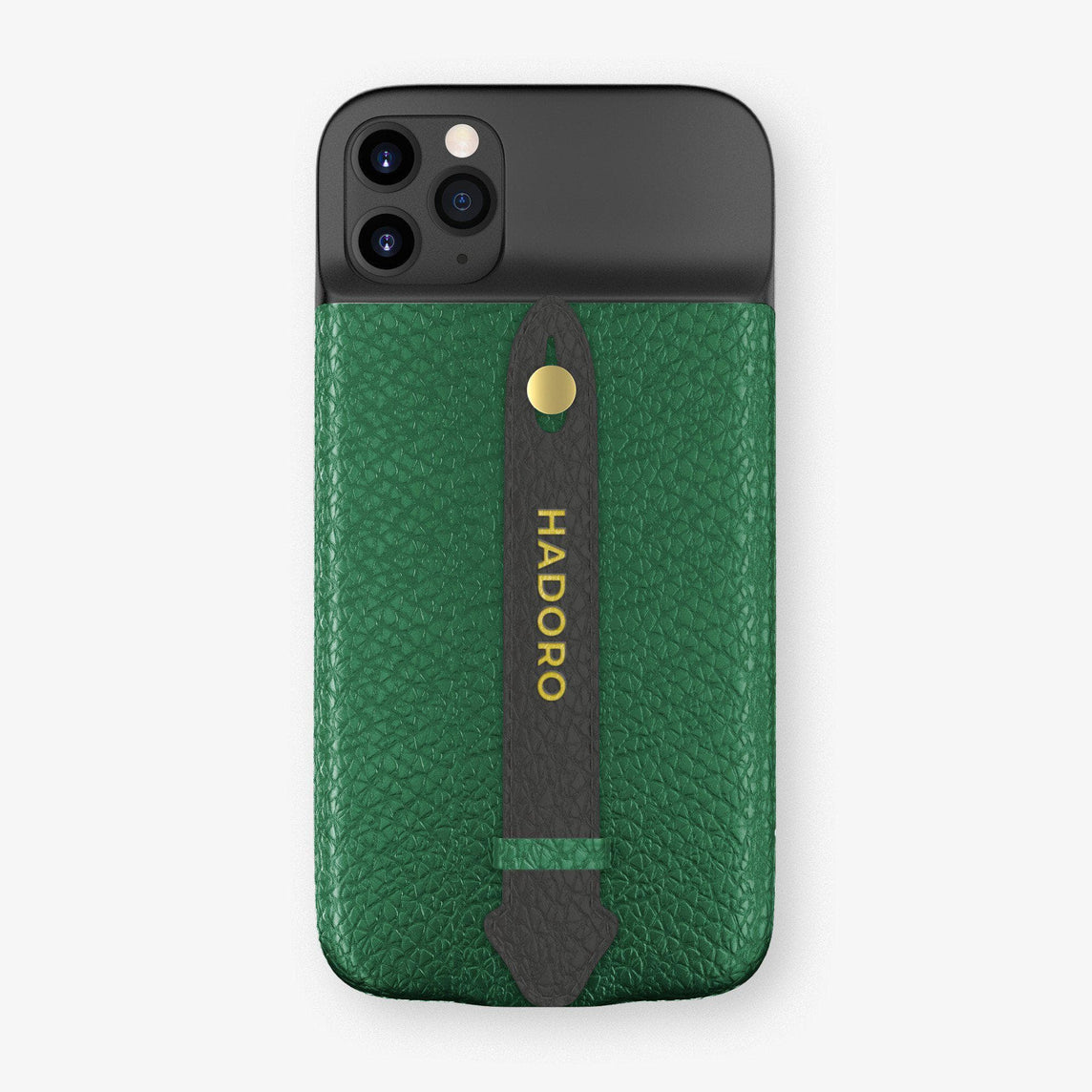 Calfskin Battery Finger Case for iPhone 11 Pro Max | Green/Anthracite - Yellow Gold without-personalization