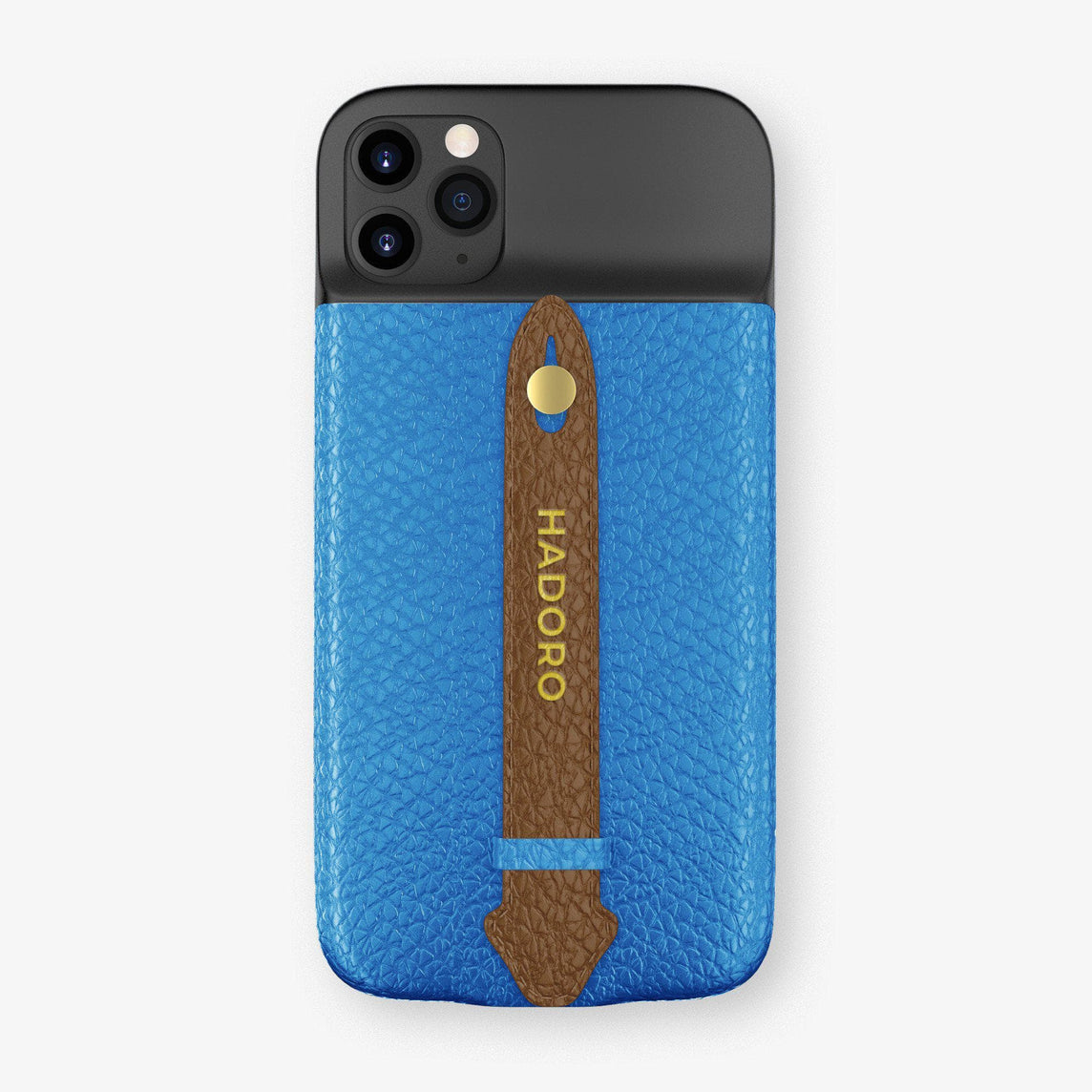 Calfskin Battery Finger Case for iPhone 11 Pro Max | Blue Lagoon/Brown - Yellow Gold without-personalization