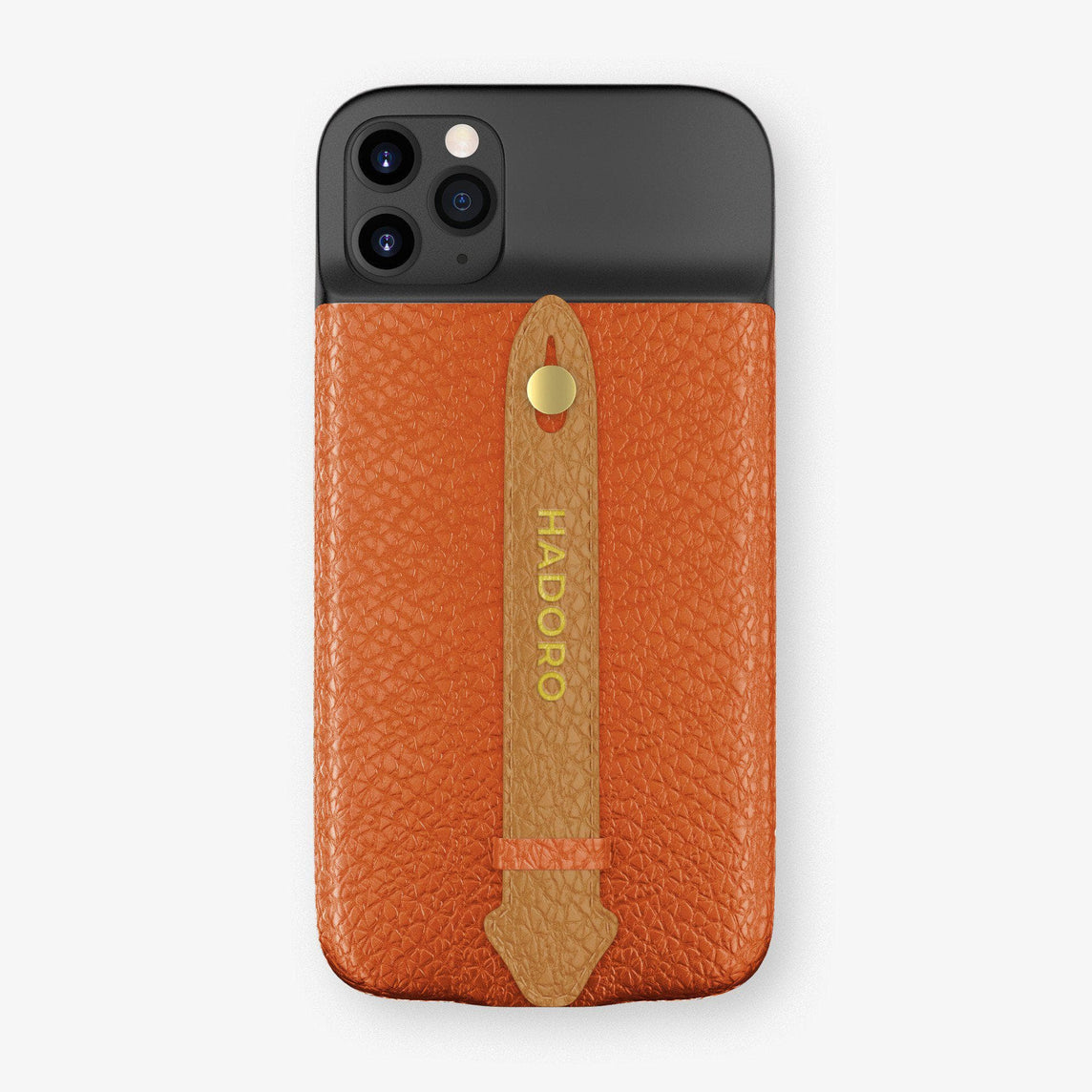 Calfskin Battery Finger Case for iPhone 11 Pro Max | Orange/Cognac - Yellow Gold without-personalization