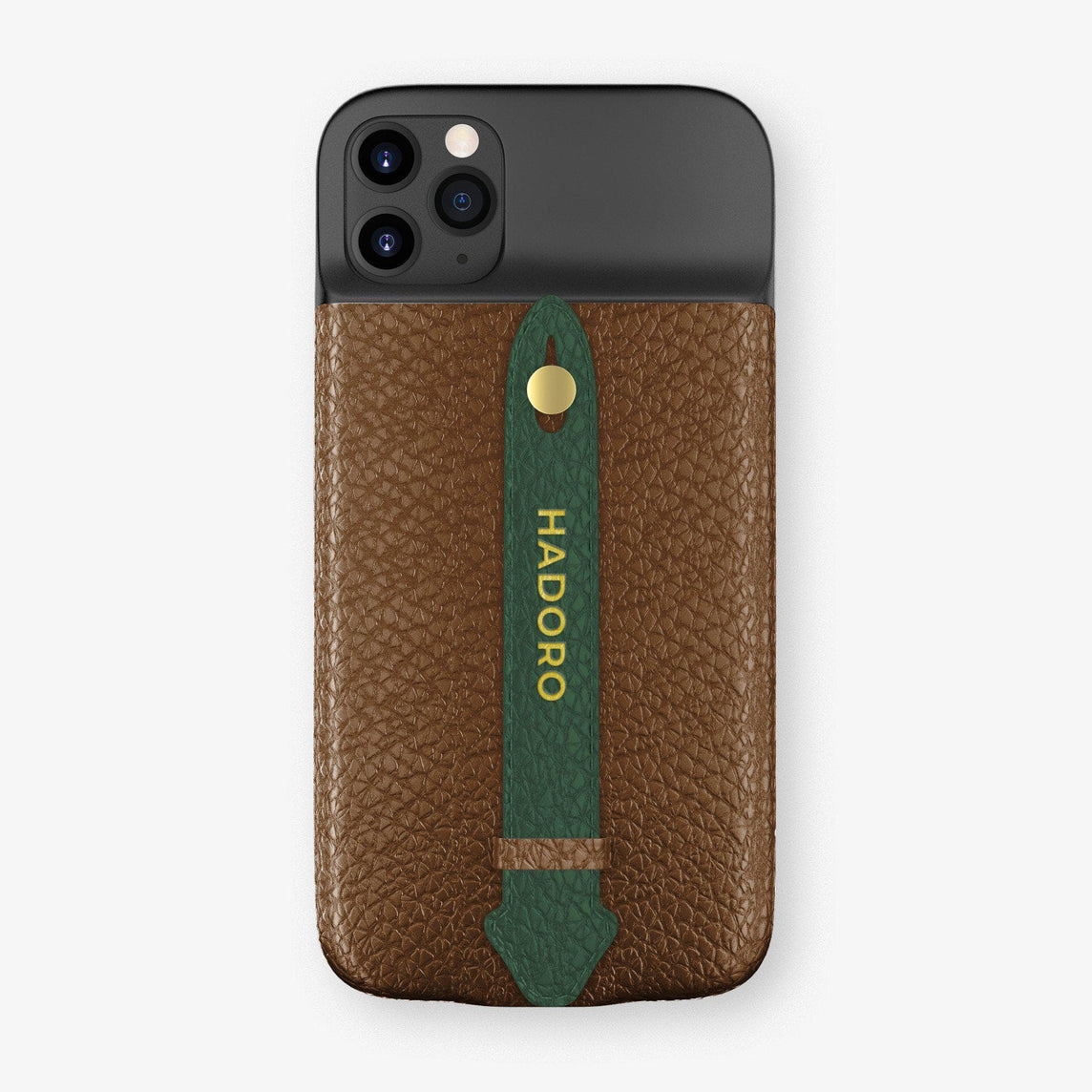 Calfskin Battery Finger Case for iPhone 11 Pro Max | Brown/Green - Yellow Gold without-personalization
