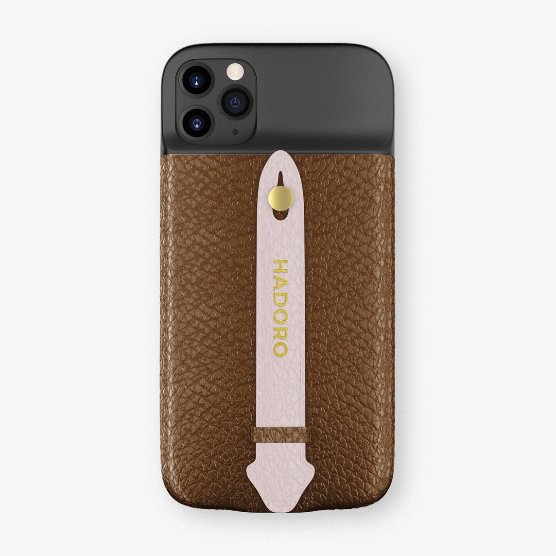 Calfskin Battery Finger Case for iPhone 11 Pro Max | Brown/Pink - Yellow Gold without-personalization