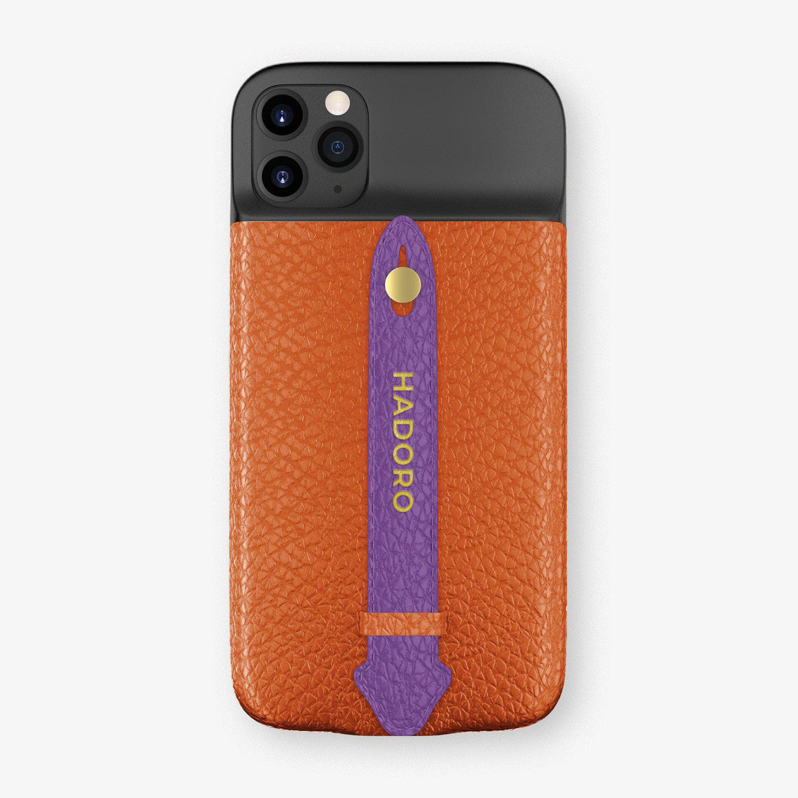 Calfskin Battery Finger Case for iPhone 11 Pro Max | Orange/Purple - Yellow Gold without-personalization