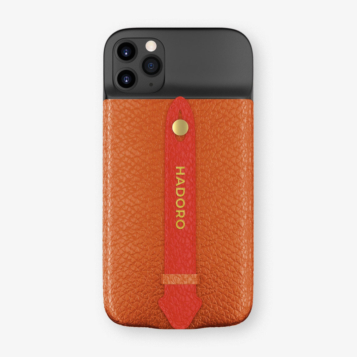 Calfskin Battery Finger Case for iPhone 11 Pro Max | Orange/Red - Yellow Gold without-personalization