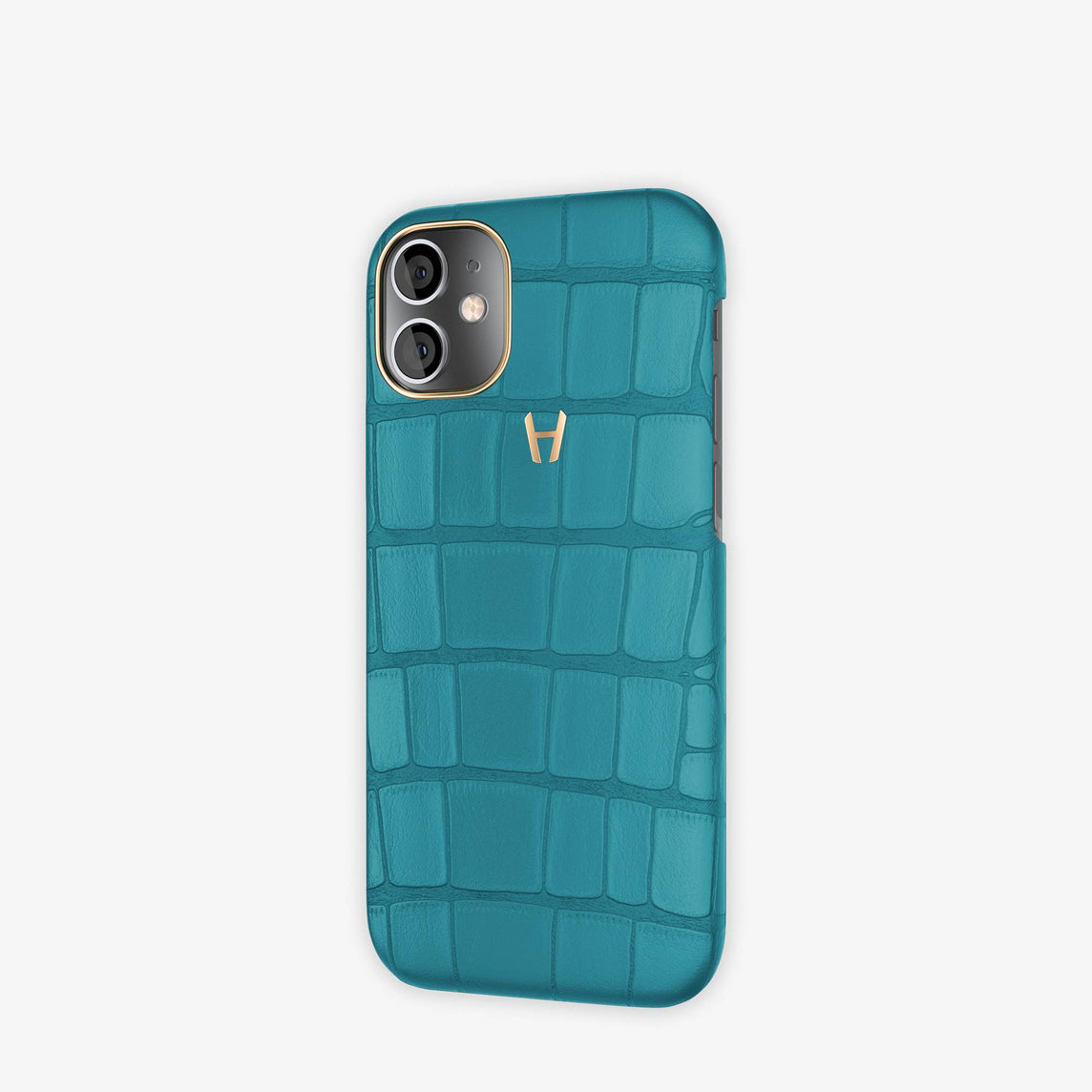 Alligator Case Apple iPhone 12 Mini | Teal - Rose Gold