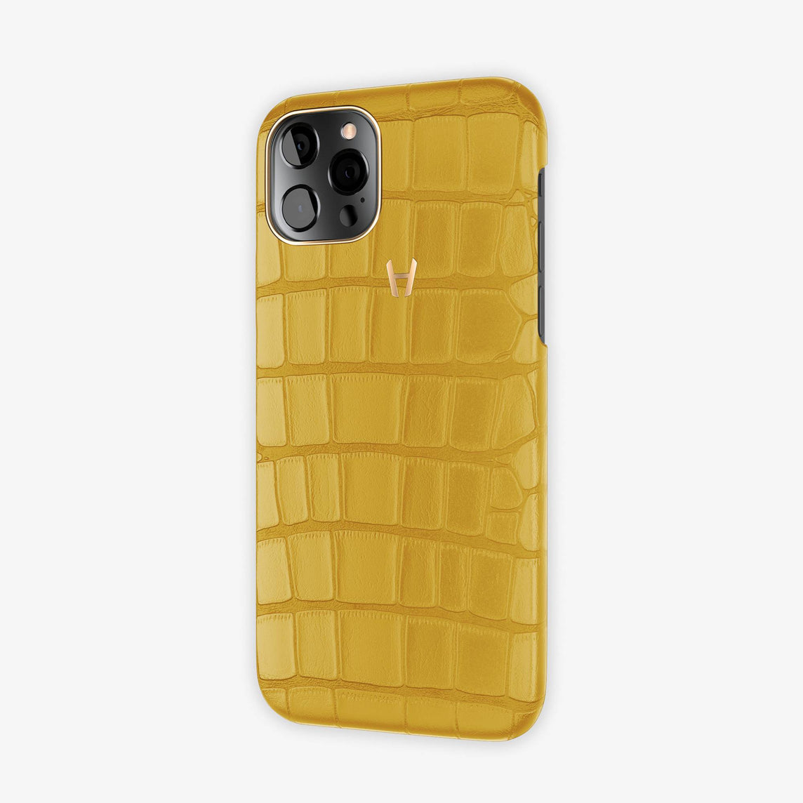 Alligator Case Apple iPhone 12 & iPhone 12 Pro | Yellow - Rose Gold