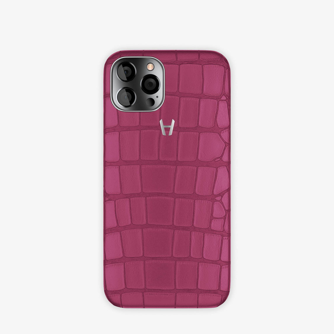 Alligator Case Apple iPhone 12 & iPhone 12 Pro | Pink Fuchsia - Stainless Steel