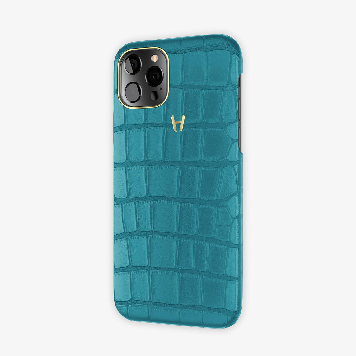 Alligator Case Apple iPhone 12 & iPhone 12 Pro | Teal - Yellow Gold