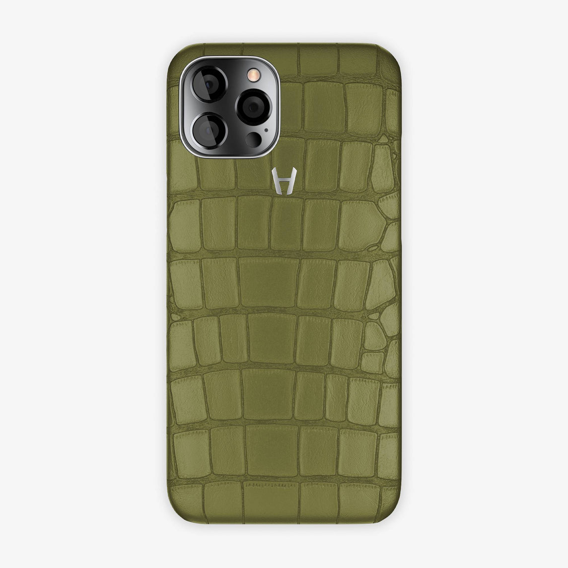 Alligator Case iPhone 12 Pro Max | Khaki - Stainless Steel