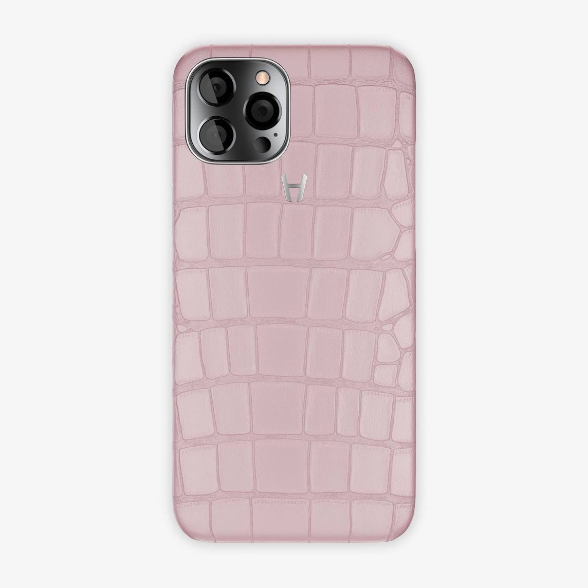 Alligator Case iPhone 12 Pro Max | Pink Poudre - Stainless Steel